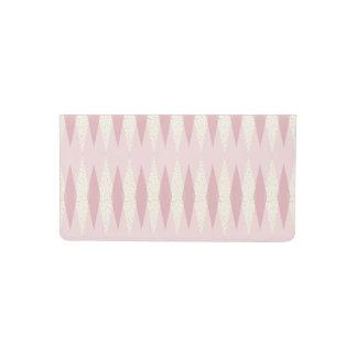Mid Century Modern Pink Argyle Checkbook Cover