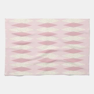 Mid Century Modern Pink Argyle Kitchen Towels