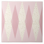 """Mid Century Modern Pink Argyle Large Ceramic Tile<br><div class=""""desc"""">This Mid Century Modern Pink Argyle Large Ceramic Tile (large print) features a First Lady pink background and a pattern of mod, translucent, blush diamonds overlaying larger, vintage cream diamonds with gold colored, space age speckles. This minimalist inspired, deconstructed argyle is a simplistic throwback of the larger than life atomic...</div>"""