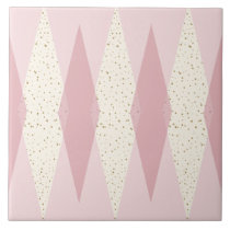 Mid Century Modern Pink Argyle Large Ceramic Tile