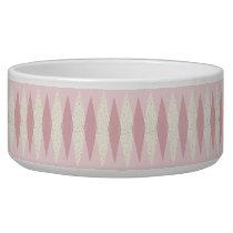 Mid Century Modern Pink Argyle Pet Bowl