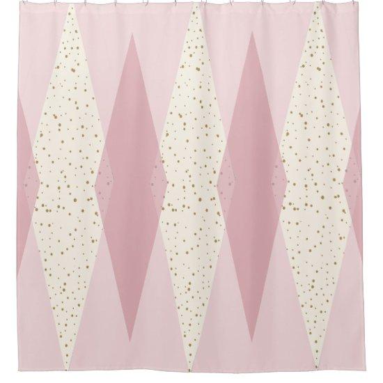 Mid Century Modern Pink Argyle Shower Curtain