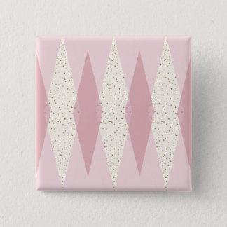 Mid Century Modern Pink Argyle Square Button