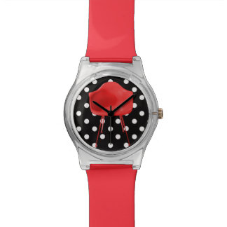 Mid Century Modern Red Chair on Polka Dots Wristwatch