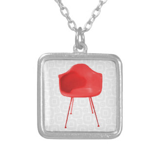 Mid Century Modern Red Chair Silver Plated Necklace