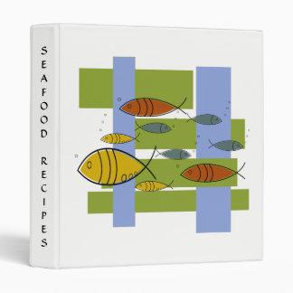 Mid Century Modern Retro Fish Swimming, Recipes Binder