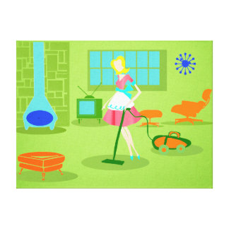 Mid Century Modern Retro Housewife Canvas