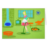 Mid Century Modern Retro Housewife Greeting Card