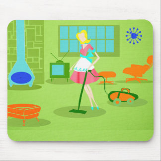 Mid Century Modern Retro Housewife Mousepad