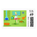 Mid Century Modern Retro Housewife Postage Stamps