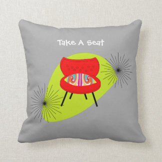 Mid Century Modern Retro Style Chair Illustrations Pillow