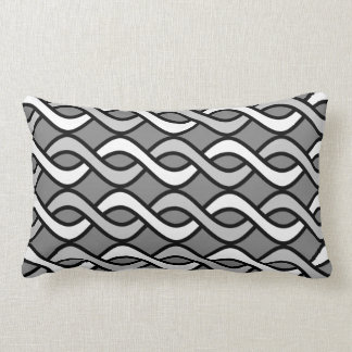 Mid-Century Modern Ribbons, grey, black and white Lumbar Pillow