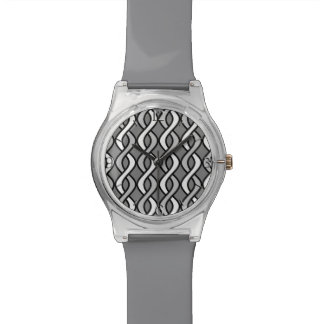 Mid-Century Modern Ribbons, grey, black and white Wristwatch