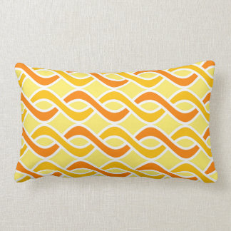 Mid-Century Modern Ribbons, yellow and orange Lumbar Pillow
