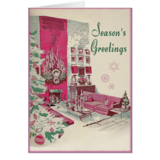 Mid Century Modern Seasons Greetings Christmas Card