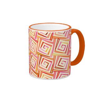 Mid-Century Modern square spirals - cream multi Ringer Mug