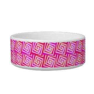 Mid-Century Modern square spirals - pink multi Bowl
