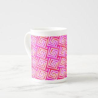 Mid-Century Modern square spirals - pink multi Porcelain Mugs