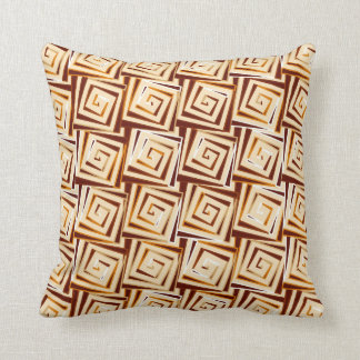 Mid-Century Modern square spirals - tan multi Throw Pillow