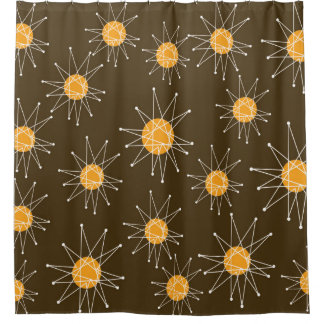 Mid Century Modern Starburst Pattern Brown Shower Curtain