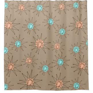 Great Mid Century Modern Starburst Pattern Tan Shower Curtain
