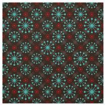 Mid Century Modern Starburst Turquoise Red Pattern Fabric