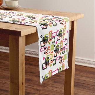 Mid Century Modern Style Geometric fabric Print Short Table Runner