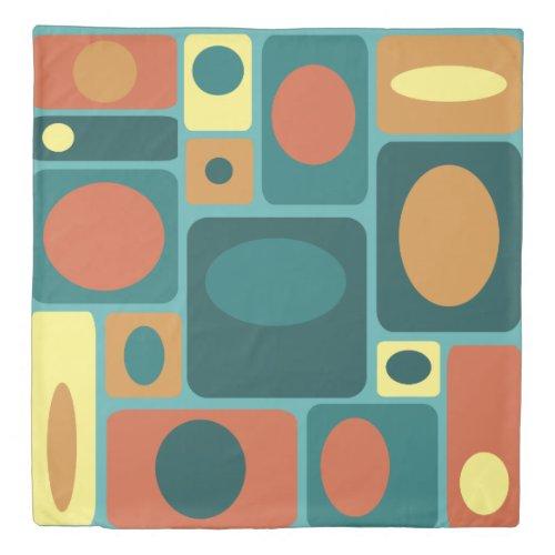 Mid Century Modern Turquoise Rectangles Duvet Cover