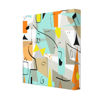 Mid Century Modern Wrapped Canvas Abstract #101 Canvas Print