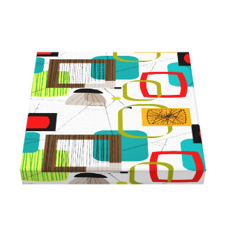 Mid Century Modern Wrapped Canvas Abstract #16
