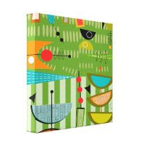 Mid Century Modern Wrapped Canvas Abstract #18