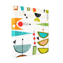 Mid Century Modern Wrapped Canvas Abstract #1A