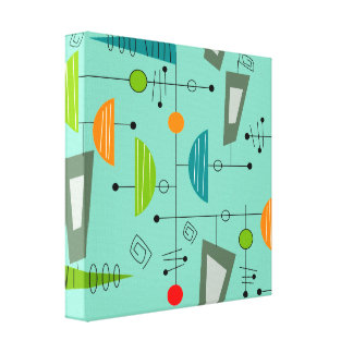 Mid Century Modern Wrapped Canvas Abstract #43 Canvas Print