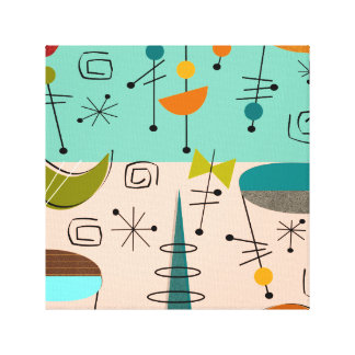 Mid Century Modern Wrapped Canvas Abstract #62 Canvas Print