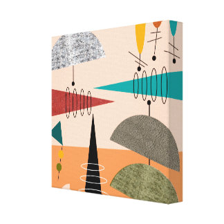 Mid Century Modern Wrapped Canvas Abstract #64 Canvas Print