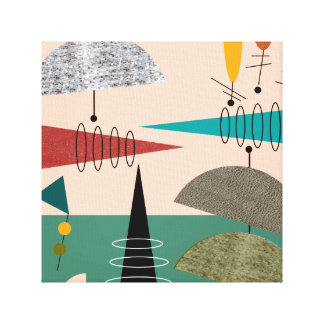 Mid Century Modern Wrapped Canvas Abstract #66