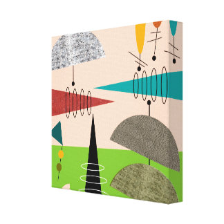 Mid Century Modern Wrapped Canvas Abstract #68 Canvas Print