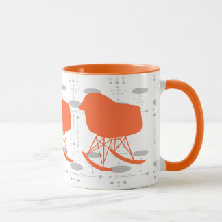 Mid-Century Orange Gray Pattern Chair Silhouette Mug