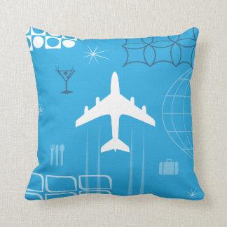 Mid-Century Retro Blue Throw Pillow