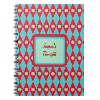 Mid Century Retro Personalized Diamond Pattern Notebooks