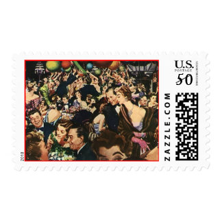 Mid-Century Retro Style Crowd Gala Party stamps