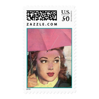 Mid-Century Retro Style Gal Vintage Pink Umbrella Postage