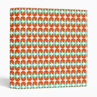 Mid Century Retro Style Modern Orange Teal Print 3 Ring Binder