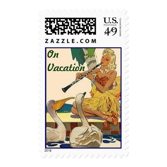 Mid-Century Retro Style Vacation Mailing Stamps