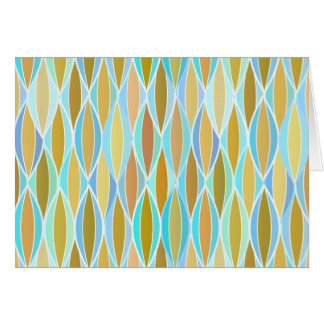 Mid-Century Ribbon Print - blues and neutrals Stationery Note Card