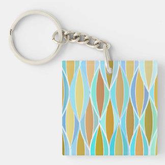 Mid-Century Ribbon Print - blues and neutrals Keychain