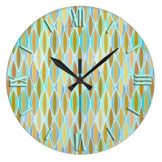 Mid-Century Ribbon Print - blues and neutrals Large Clock