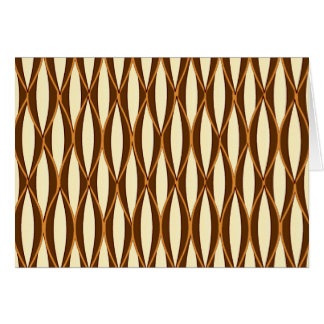 Mid-Century Ribbon Print - brown and cream Stationery Note Card