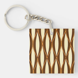 Mid-Century Ribbon Print - brown and cream Keychain