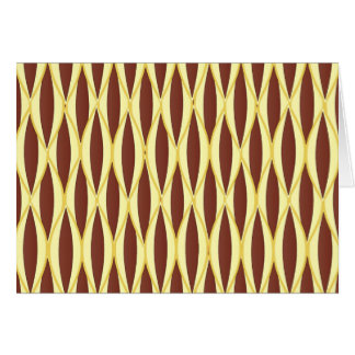 Mid-Century Ribbon Print - brown and gold Stationery Note Card